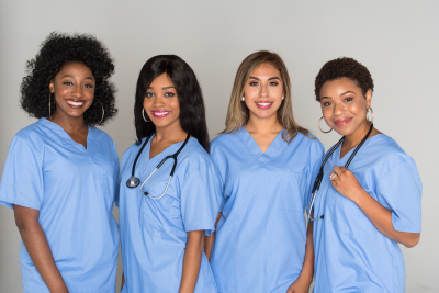large group of female nurses working together